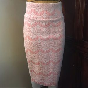 🆕 La Scala Peach w/ Lace Fitted Long Skirt-Large